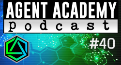 Podcast thumbnail - Agent Academy Podcast #40 - map of the earth with gradient from blue to green (a little more green than blue)
